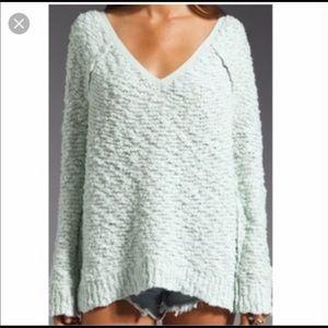 Free people v neck minty sweater